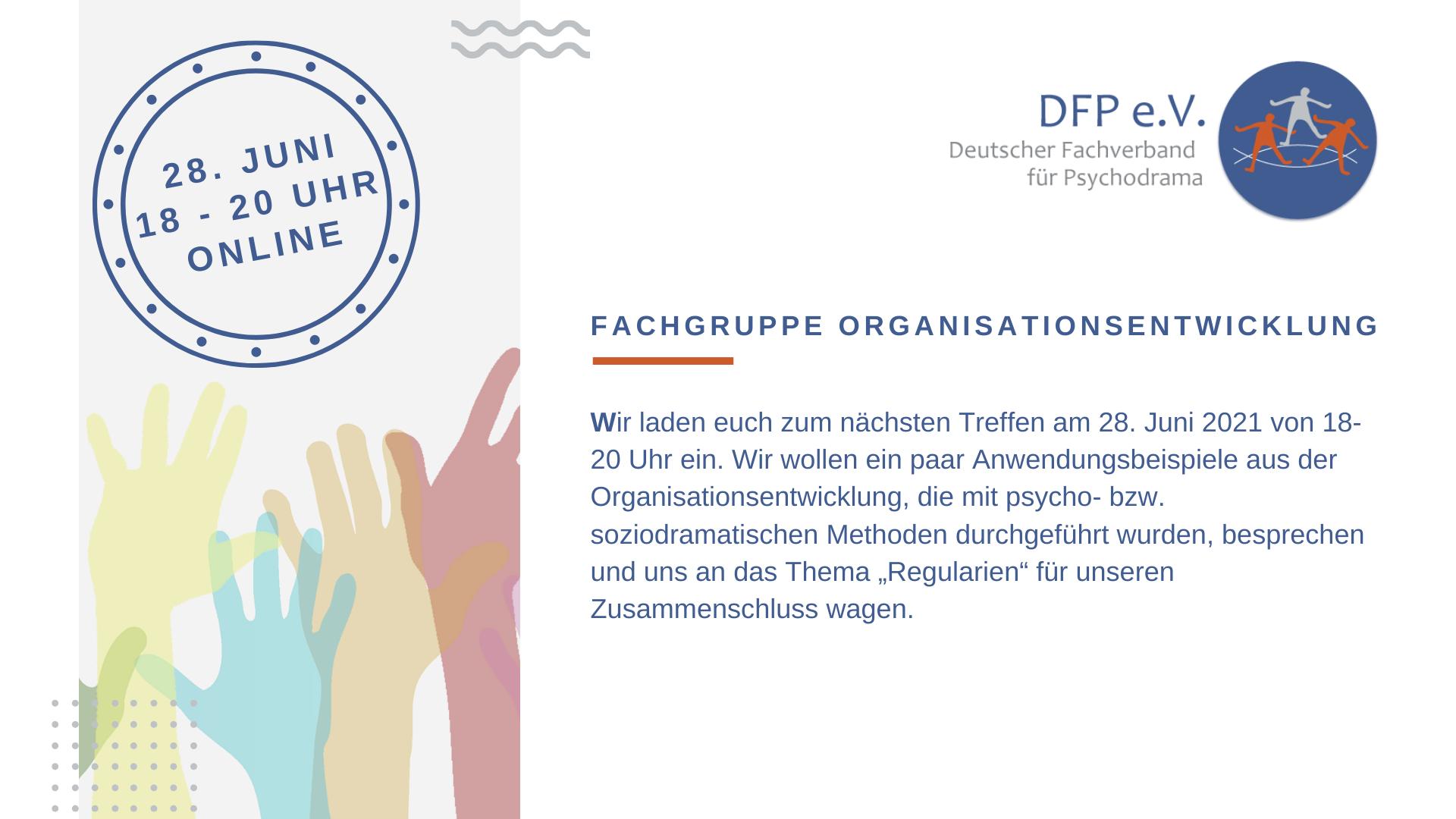 Fachgruppe Organisationsentwicklung – nächster Termin 28. Juni 2021